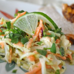 Texas Coleslaw Recipe - Coleslaw with Southwestern twist! Tangy with lime juice, cayenne and cumin, and bursting with crunchy bits of carrot, green onion and radish.