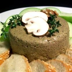 Exotic Mushroom and Walnut Pate Recipe - Shiitake, crimini, and portobello mushrooms are cooked in butter and garlic, and then pureed with walnuts to make this delicious pate.