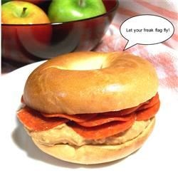 Odd Bagel Sandwiches Recipe - The combination of peanut butter and pepperoni on a sandwich may sound strange, but may also turn out to be an amazing surprise.