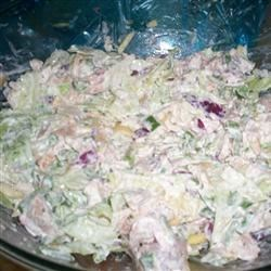 Lemon Chicken Salad Recipe - This succulent chicken salad features tender chicken, crunchy snow peas, red onions and an array of spices nestled in a creamy lemon accented dressing.