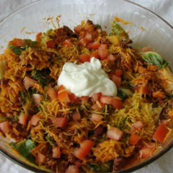 Taco Salad I Recipe - Put a twist on conventional taco salad recipe with this quick version using French dressing.