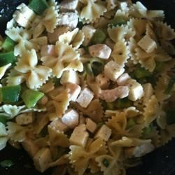 Best Ever Pasta Salad Recipe - Rotelli pasta and chicken breast chunks are tossed in a tangy, herb-rich vinaigrette studded with capers and dotted with bits of creamy Havarti cheese.