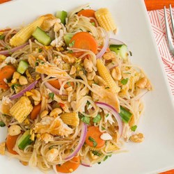Malaysian Tangy Noodle Salad Recipe and Video - A bite of this tangy noodle salad will help you feel fuller and satisfied longer, thanks to protein-packed canned chicken.