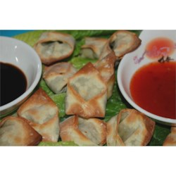 Edamame-Stuffed Wontons Recipe - These delicious baked wontons are filled with an edamame (soy bean) stuffing and are sure to please!