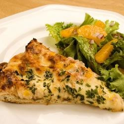 Gourmet Chicken Pizza Recipe - Pizza gets a little style with chopped tomatoes replacing sauce, and the addition of ranch dressing and shredded chicken