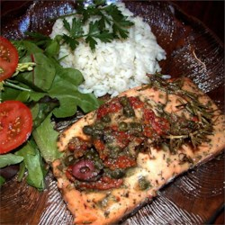 Salmon with Dijon Vinaigrette Recipe - White wine vinegar, Dijon mustard, and herbs make this a truly memorable way to cook salmon. I made it the other night and everyone said that it was the best fish they'd had!