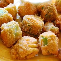 Fried Okra Recipe - A simple Southern classic! Okra is dredged in seasoned cornmeal, then fried until golden.