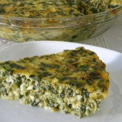 Spinach Quiche Recipe - A simple crust-less quiche with spinach, green onions and two cheeses.