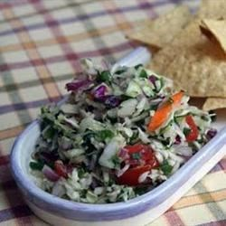 Frank's Chopped Salsa   Recipe - Chopped cabbage gives this pico de gallo a lot of crunch and a unique flavor.