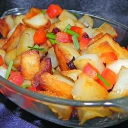 Striker's Potatoes O'Brien Recipe - Keep this tasty mix of potatoes, onions, and bell peppers in the freezer for quick and easy breakfasts.