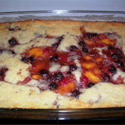 Peach Raspberry Cobbler Recipe - A warm cobbler made with fresh peaches and raspberries for a tasty summertime treat!