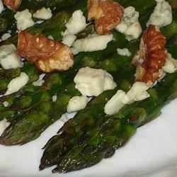 Asparagus with Gorgonzola and Roasted Walnuts Recipe - Roasted but crisp asparagus spears topped with gorgonzola and roasted walnuts. Easy but tastes gourmet!