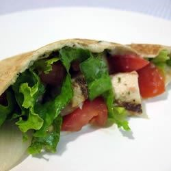 Warm Greek Pita Sandwiches With Turkey and Cucumber-Yogurt Sauce Recipe - The perfect ending to the holiday turkey is this Greek-inspired sandwich served in a warmed pita. It is filled with lettuce, tomatoes, and turkey, and topped with a homemade cucumber sauce.