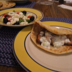 Greek Chicken Pitas with Greek Salad
