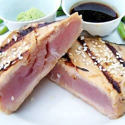Sesame Seared Tuna Recipe - Easy, great tasting tuna coated with sesame seeds, and quickly seared. This tuna is served rare, so be sure to use a good quality fresh tuna.