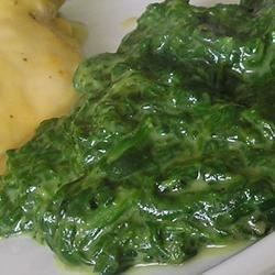Creamed Spinach III Recipe - Steamed spinach is blended with a rich, creamy sauce that's lightly spiced with nutmeg.