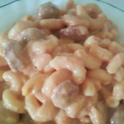 Stupid Hot Dog Thing Recipe - Hot dogs and macaroni in a creamy, cheesy tomato sauce is how you make this particular hot dog 'thing.'