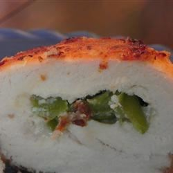 Mexican Chicken Kiev Recipe - Monterey Jack and green chilies encased in Parmesan-breaded chicken give added flavor and fun.