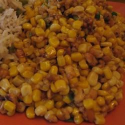 "Sweet Corn Subji With Paneer and Cashew Nuts Recipe - Subji is an Indian dish that literally translates as ""vegetable dish"".  The vegetable here is corn that is cooked with savory paneer cheese and seasoned with onions, chiles, nuts, and cilantro."