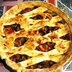 Chicken Honey Mustard Pie Recipe - For this fabulous savory pie, a wonderful chicken mixture is cooked up and poured into a pie shell. Honey, mustard and parsley mingle with chunks of chicken, soy sauce and veggies.
