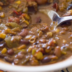 Veggie Vegetarian Chili Recipe - Delicious chili with tomatoes, onions, mushrooms, peppers, carrots, corn, and several kinds of beans. Great as a snack or as a whole meal. Can feed an army or keep for days.
