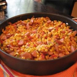 Fried Corn with Smoked Sausage