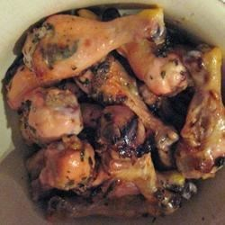 Wings with Mint Leaves and Honey Recipe - Chicken wings brushed with a mint leaf, honey, lemon and garlic mixture, then baked to a golden finish.