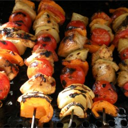 Rosemary Ranch Kabobs - chicken, cherry tomatoes, bell peppers, and onion.