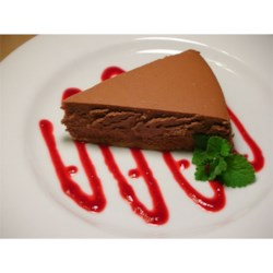Chocolate Cheesecake I Recipe - A chocolate lover's delight!  Top with cherry pie filling or sweetened strawberries.