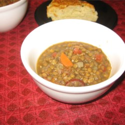 Kris' Lentil Sausage Soup Recipe - Hearty lentil soup with kielbasa and veggies--so easy to prepare and oh, so good!