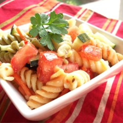 Simple Pasta Salad Recipe - An easy, yet very yummy pasta salad. Almost any type of pasta may be used. Best if left to sit overnight.