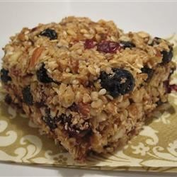 Blueberry-Almond Energy Bars Recipe - Talk about a yummy way to get your children to eat fruits and nuts. They'll love these bars.