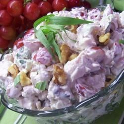 Tarragon-Dill Grilled Chicken Salad Recipe - Grilled chicken lends smoky flavor to a flavorful summer salad featuring sweet and crunchy grapes and apples in a mayonnaise-sour cream dressing seasoned with fresh tarragon and dill.