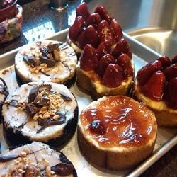 Mini Peanut Butter Chocoalte Cheesecakes and New York Cheesecake with Stawberries