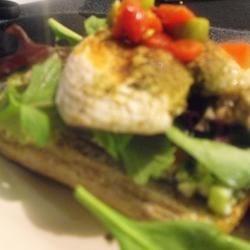 Chicken Arugula and olives on crusty Ciabatta