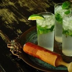 J-Lo's Asian Mojito Recipe - Pineapple juice sweetens lemon-flavored rum and sour apple schnapps in this Asian-accented version of the Cuban classic.  Serve over ice with a mint-sprig garnish for a refreshing summertime treat.