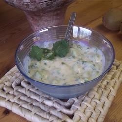 Kiwi Raita Recipe - A slightly sweet, slightly tangy, cooling condiment that goes great with spicy Indian dishes or any grilled meats or veggies.