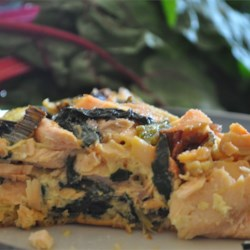 Salmon and Swiss Chard Quiche Recipe - This is a crustless quiche that looks and tastes great.  Red Swiss chard makes the quiche very attractive.  It would also be good with half the salmon and twice the chard for a different flavor emphasis.