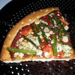 Blue Cheese and Asparagus Pizza Recipe - Make a quick and easy asparagus and blue cheese pizza by using a prepared crust.