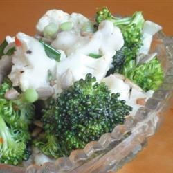 Zesty Broccoli and Cauliflower Salad Recipe - Broccoli and cauliflower florets, slices of red onions, and a nice store-bought Italian dressing. Top it off with a sprinkling of sunflower seeds.