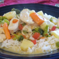 Thai Pineapple Chicken Curry Recipe - This is a quick, easy, and authentic Thai curry dish that's sweet and very spicy. I became addicted to the dish at a local restaurant and then worked to duplicate it at home.