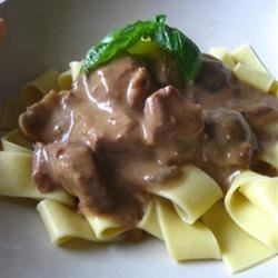 Use pappardelle pasta (at Trader Joe's), whole cremini & white button mushrooms