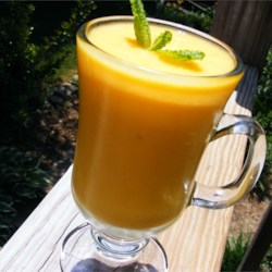 Mango Lassi II Recipe - This creamy, smooth mango lassi is made with yogurt and mango and is absolutely heavenly.