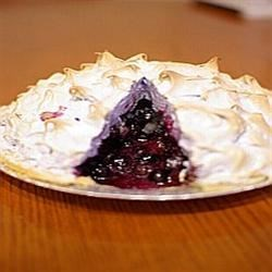 Blueberry Meringue Pie Recipe - A really simple pie to make. A fresh blueberry pie that is simply spiced and topped with a golden meringue. Great for a sweet dessert after lunch or dinner. My family loves it. Give it a try!