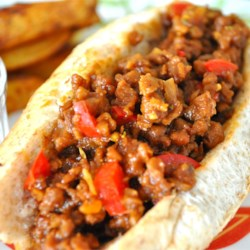 Vegetarian Sloppy Joes Recipe - Tempeh stands in for the traditional ground beef in a vegetarian version of the all-American classic sandwich.
