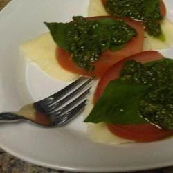 Pesto sauce over caprese salad!