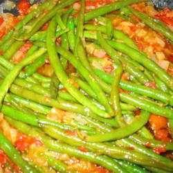Greek Green Beans Recipe - A nice mix of green beans, onion, and tomatoes simmered until soft and delicious! Just like Ya Ya used to make!