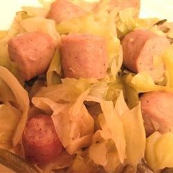 Oklahoma Comfort Food: Brats, Cabbage and Green Bean Casserole Recipe - The unusual combination of ingredients--green beans, cabbage, onions, and bratwurst--in this stove-top casserole is one Oklahoma family's traditional comfort food. The dish also freezes and reheats well.