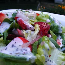 Strawberry Summer Salad Recipe - This recipe makes a poppy seed salad dressing and a green salad with strawberries. Combine the two for a unique salad option.