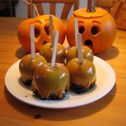 Caramel Apples with Chocolate Sprinkles